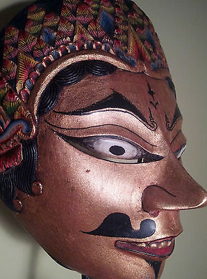 Finely carved, real gold leaf, thinly carved, Javanese Dalem dance mask, Topeng