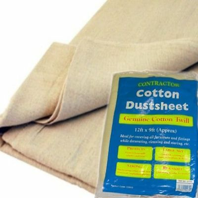 LARGE HEAVY DUTY 12' x 12' ft COTTON TWILL DUST SHEET PROFESSIONAL QUALITY NEW