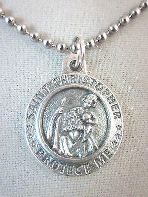 "3/4"" St Christopher / US Army  Medal Italy Pendant Necklace 24"" Ball Chain"