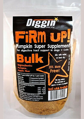 FIRM UP Natural Pumpkin DIGGIN YOUR DOG PET CAT Digestive health 16oz BULK USA