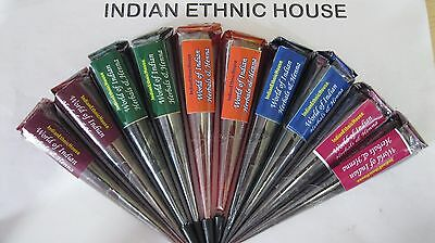 10 Colored HENNA CONES paste tattoo kit body art temporary party ink event black