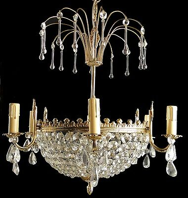 Antique French Empire style chandelier Solid gold bronze and crystal basket
