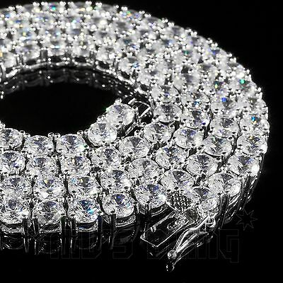 18k White Gold 1 Row Lab Diamond 5MM ICED OUT Chain Mens Hip Hop Tennis Necklace