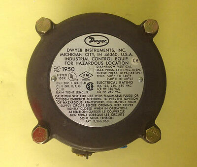 Dwyer 1950-0-2F Explosion-proof Differential Pressure Switch (A42)