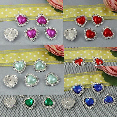 10X Heart Shape Rhinestone Pearl Silver Shank Charming Heart Button Sewing Craft