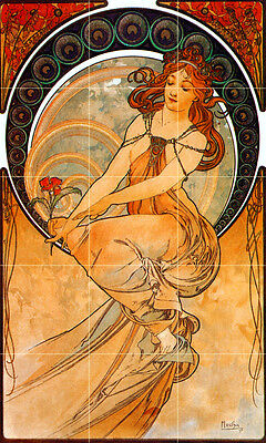 18 x 30 Art Nouveau Alphonse Mucha Ceramic Mural Backsplash Bath Tile #2420