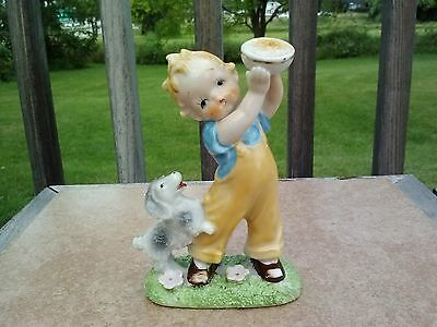 Vintage Ucagco boy carrying food bowl w/puppy chasing & jumping - Japan
