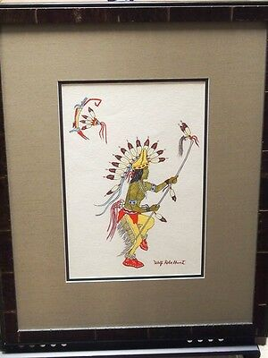 Wolf Robe Hunt Original Painting/ Wayne Henry Hunt/ Acoma/ Native American
