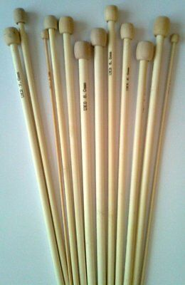 34cm long bamboo knitting pins. 1 pair single point in sizes from 2mm to 12mm