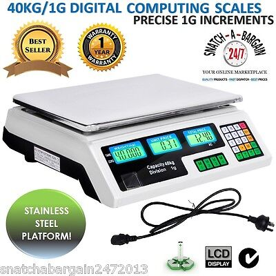 Kitchen Electronic Computing Digital Scales Weight 40KG White Food Commercial