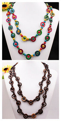 """Handmade Coconut Shell Wooden Round Beads Long Necklace 52""""L More Colors Options"""