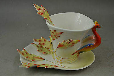Rare Porcelain Carving Beauty Peacock Spreads Tail Plate & Tea Cup & Spoon