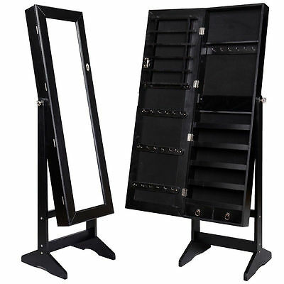 Mirrored Jewelry Cabinet Mirror Organizer Armoire Storage Box Ring W/Stand New