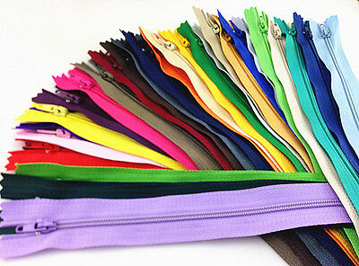 DIY MIX 30/150/300pcs Nylon Coil Zippers Tailor Sewer Craft 9 Inch Crafter's
