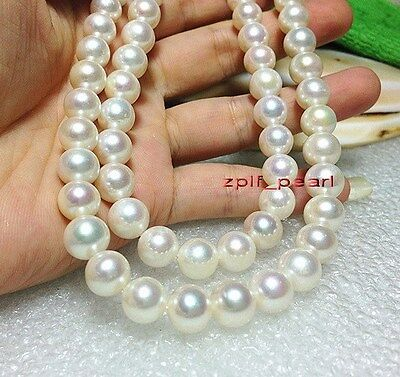 """LONG TOP LUSTER  AAAAA 35""""11-12mm REAL SOUTH sea round white pearl necklace 14K"""