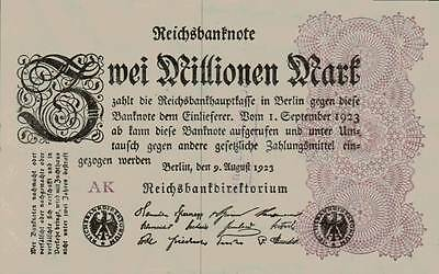 1923 Germany Weimar Republic Hyper Inflation 2.000.000 Mark Banknote