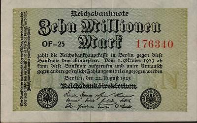 1923 Germany Weimar Republic  10.000.000 / 10 million Mark Banknote
