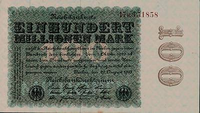 1923 Germany Weimar Republic 100.000.000 / 100 Million Mark Banknote