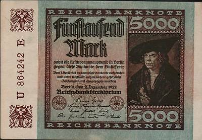 1923 Germany Weimar Republic Hyper Inflation 5000 Mark Banknote