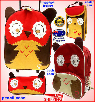 Luggage SET Animal backpack, lunch cooler, trolley, pencil case Portable Owl