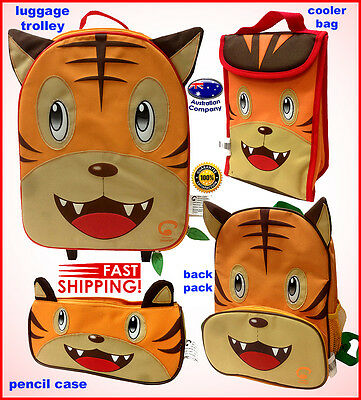 Luggage SET Animal backpack, lunch cooler, trolley, pencil case Portable Tiger
