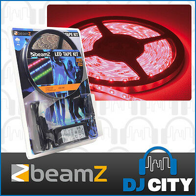 Beamz LED 5m LED Strip Tape Light with Power Supply - Red