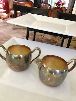 Academy  vintage  Creamer and Sugar set  Silver on Copper