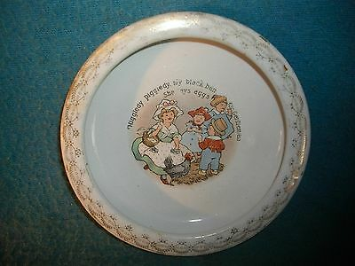 h99 Antique Baby Child's Plate With Children & chickens