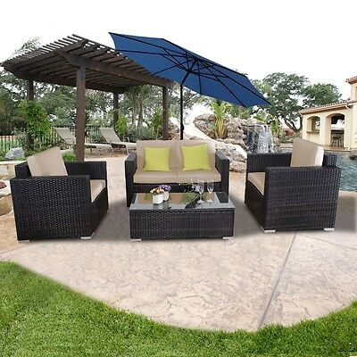 4PC Outdoor Patio Furniture Rattan Sofa Set Wicker Sectional  W/Cushions Brown