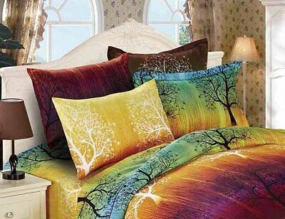Pair of RAINBOW TREE Standard Pillowcases 48cm x 73cm New