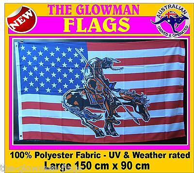 END of TRAIL flag American flag USA flag American Native Indian with horse flag