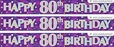 80Th Birthday/ Age 80 Purple And Silver Foil Banner (Ew)