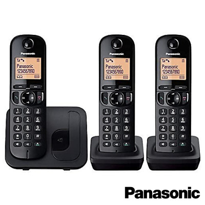 New Panasonic Kx-Tgc213 Cordless Dect Trio Home Phone With Call Blocking Black