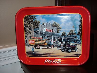 Nice Coca Cola Coke tray showing old trucks and a train