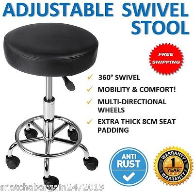 NEW PU Swivel Round Gas Lift Stool Black Hairdresser Medical Clinic Salon Chair