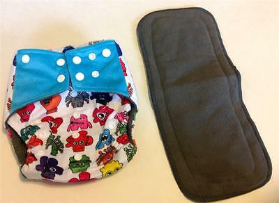 Monster Charcoal Bamboo Pocket Cloth Diaper Nappy **Insert Included**