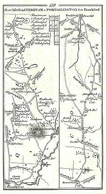 Antique map, Roads from Monasterevan to Frankford, Portarlington to Killeigh, ..