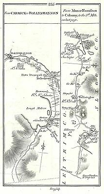 Antique map, Roads from Carrick to Ballyshannon (2), Roscommon to Portumna (1)