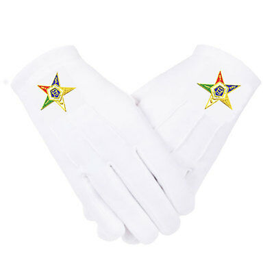 Oes Eastern Star Gloves - Embroidered - White Cotton - 4 Sizes * Sm..md..lg..xl