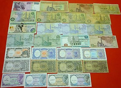 EGYPT 28 different circulated & uncirculated with different dates signatures