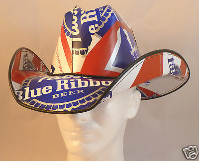Beer Box Cowboy Hat Made from recycled PABST BLUE RIBBON boxes NASCAR Stetson