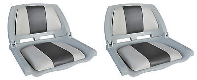 2 x FOLDING MARINE BOAT SEATS FOLD DOWN FISHING TRACTOR SEAT GREY & CHARCOAL