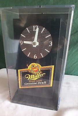 Vintage Miller Beer Analog Clock  Man cave special BIN Sorry about Reflections
