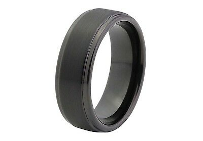 Black Brushed Tungsten Ring with Stepped Edge 8mm by COWAN BROWN