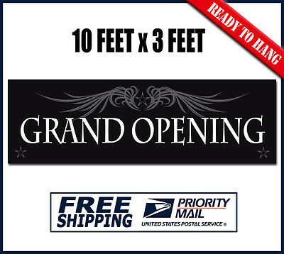 GRAND OPENING Banner Sign - 10 feet x 3 ft - Outdoor Vinyl Material - GOBW10
