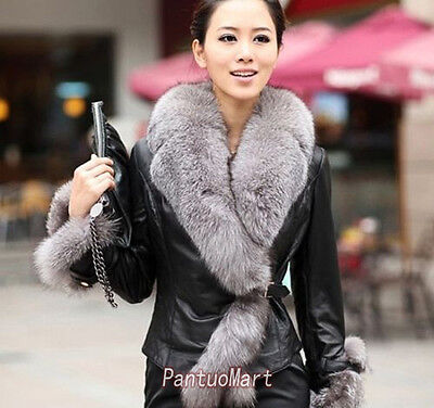 Black Faux Leather Fur Decorated Coats Women Winter Fashion Coats SV006335