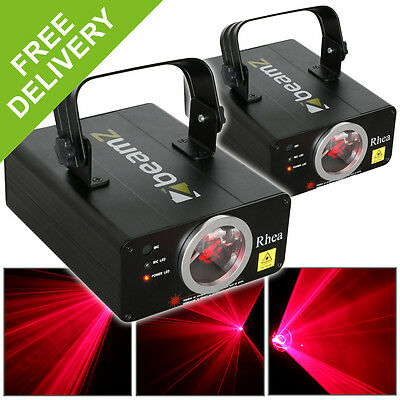 2x Beamz Bright Red Laser Lights Stage Lighting Effects Disco Party DJ