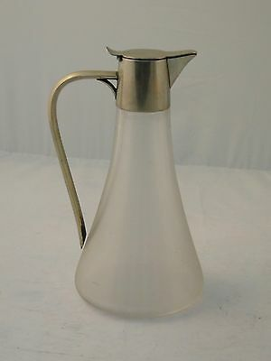 Claret Jug Decanter French Circa 1920 Glass & Silver Plated Stylish Shape