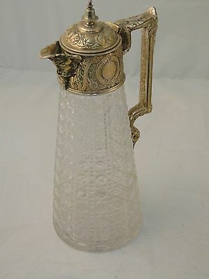 Claret Jug Decanter English C 1880 Cut Glass & Silver Plated Top Louis Style