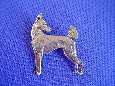 Minature Pinscher Butterfly pin #34B Pewter Toy dog jewelry by Cindy A. Conter